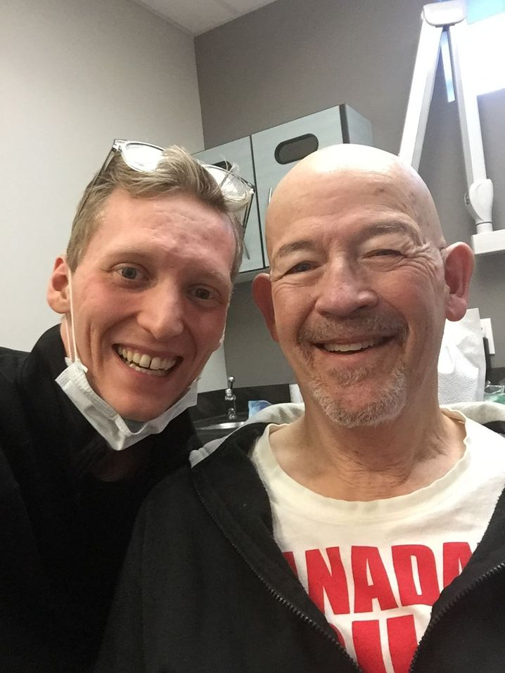 Recent Vandor Denture Centre Patient, Al, shows off his before and after transformation. He went from decaying upper natural teeth to a custom designed upper immediate denture, by Brock, the Denturist.